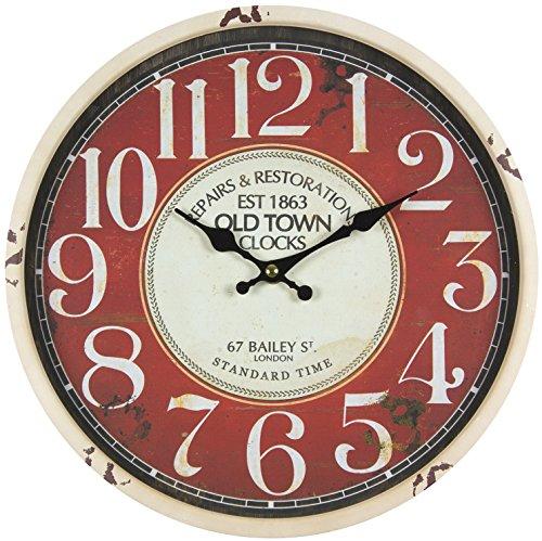 Reloj de pared de metal lacado con esfera de cristal y diseño vintage de Perla PD DesignDiámetro: 30cm., metal, OLD TOWN