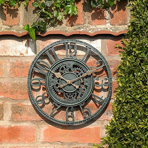 30,5cm Vintage Zahnrädern Work Uhr in Antik Blau Retro Indoor Outdoor Garten Home