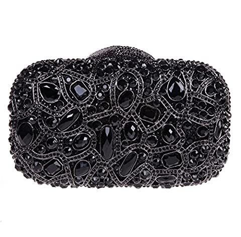 Bonjanvye Bling Evening Clutch Purse For Wedding Handbags For Girls Black