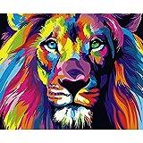 AOLVO DIY Ölgemälde von Zahlen, 49,8x 39,9cm Katzen/Hunde Tier Digital Ölgemälde Leinwand Wand Art Artwork Landschaft Gemälde für Home Wohnzimmer Büro–Malen nach Zahlen Kits, Colorful Lion, 20