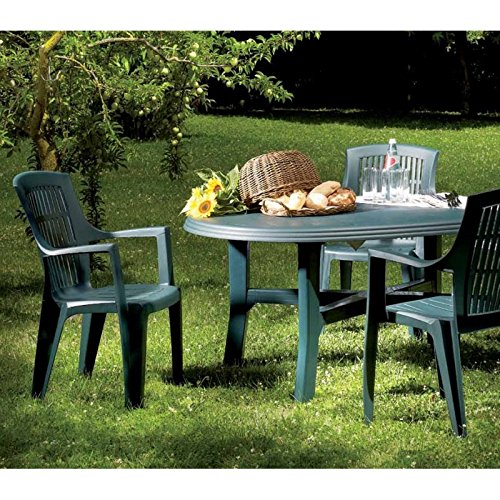 Tavolo da giardino plastica 165x 110cm, ovale, colore: verde-pulire/tavolino da tavolo da campeggio, per il giardino terrazza tavolo mobili plastica camping