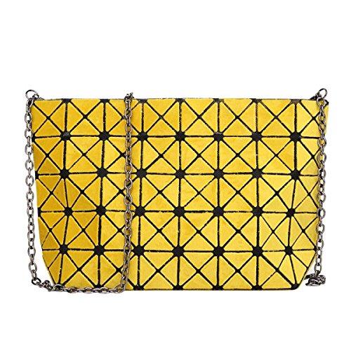 Matte Geometrische Falttasche Diagonale Paket Mode Einfache Umhängetasche Yellow