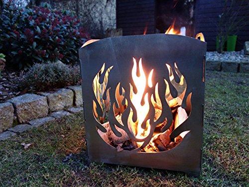 Feuerkorb Motiv Stahl Feuersäule Edelrost Made in Germany Design Gr. L Flamme