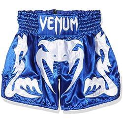 Venum Bangkok Inferno Pantalones Cortos de Muay Thai, Hombre, Azul/Blanco, L