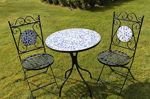 2 Seater 'Mixed' Pattern Mosaic Bistro Patio Garden Set.