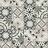 Rasch Marokkanische Barock Kachel Muster Tapete Realistisch Faux-effekt - Schwarz Weiß 526318