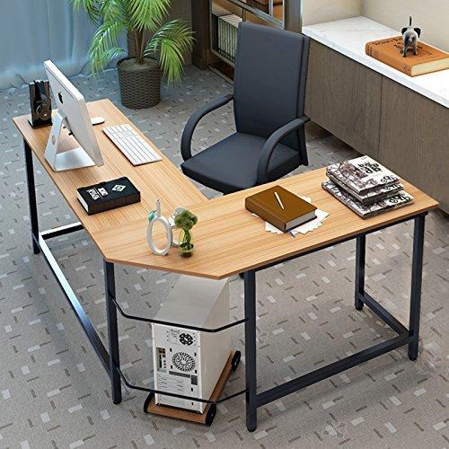 Tribesigns Eckschreibtisch Winkelkombination Schreibtisch Ecke , Gaming Schreibtisch PC Bürotisch Computertisch Arbeitstisch Winkelschreibtisch PC Tisch, - 148cm x 125cm x 74cm (Buche/Schwarz)