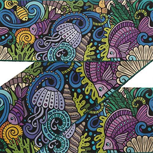IBA Indianbeautifulart Schwarz Korallen & Fisch Ozean Stoff Schnürsenkel für Kunsthandwerk bedruckt Samtbesatz Stoff Nähen Grenze Band schneidet 9 Yard 3 Zoll