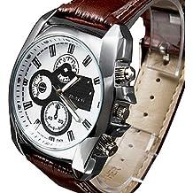 Reloj analógico de cuarzo para hombre con correa de piel Marrón