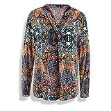 Milano 83-6228-3061-3H Damen Klassische Bluse V-Ausschnitt Langarm aus Viskose, Groesse 42, orange/Gemustert