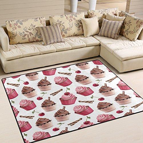 Use7 Teppich, Weihnachtsmotiv, Kirschrot, Schokolade, Cupcake, für Wohnzimmer, Schlafzimmer, Textil, Mehrfarbig, 203cm x 147.3cm(7 x 5 feet) - 5' Schokolade