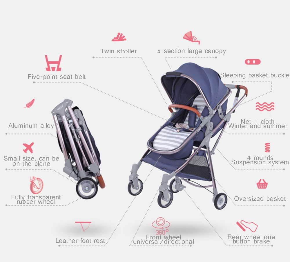 MYRCLMY Lightweight Folding Child Travel Artifact Baby Double Can Sit Detachable Twin Baby Stroller,Red  ***Two-way implementation: easy to interact with the baby at any time; all-aluminum ultra-light, frame only 3.2kg, petite treasure mother can also easily control; folding small can board, the patent sleeping basket can be folded, the car is very small, Can bring the plane directly, no need to check in. ***High landscape: the seat is high from the ground, refuses to eat the baby; magic transparent rubber wheel, with bearing, technology-explosive high-value transparent wheel, each wheel has built-in precision bearings, promotes super smooth and flexible, rubber wheel 5 years is not bad. ***Newborn sleeping basket design, newborn baby's exclusive mobile crib; reclining flat can sit straight, three-speed adjustment, 0-3 year old baby is suitable for comfortable seats. 2