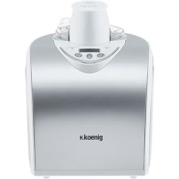 H.Koenig HF180 Macchina per Gelati e Sorbetti, 1L, Programmabile, Gelato pronto in 40min, Gruppo freddo integrato, Acciaio Inox, 135W, Colore: Argento