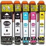 NEUSTE CHIPS funktionieren 100%ig in allen Druckern: 5 Stück MAXIMPRINT Tintenpatronen kompatibel zu Epson Multipack 33 XL (bestehend aus T3351, T3361, T3362, T3363, T3364 kompatibel mit Chip und Füllstandsanzeige) kein Original Set kompatibel zu Epson Expression Premium XP-530 XP-540 XP-630 Series XP-635 XP-640 XP-645 XP-830 XP-900