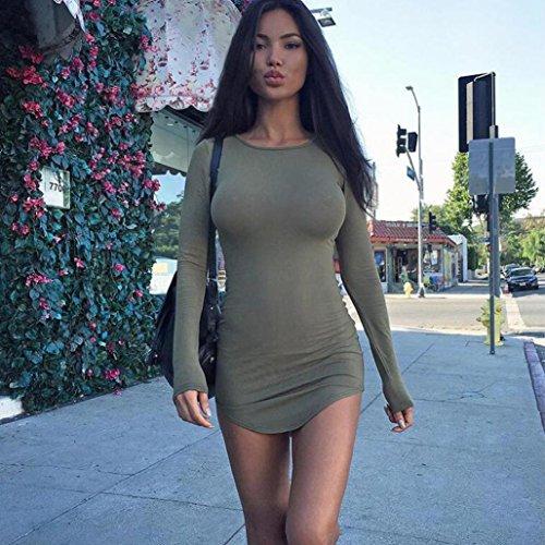 OverDoseFemmes Sexy Robe Bodycon Manche Longue Robe De SbeoiréE Mini Ro Vert