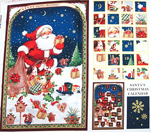 Minerva Crafts Santa & # 39; S Weihnachten Advent Kalender Stoffbahn-Pro Panel -