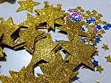 #10: Luvish Creation Glitter Gold Star Cut Out, 1st Birthday Party Decorations ,Glitter Stars, Glitter Confetti, Party Confetti Table Scatter Decor, Gold (50 pc)