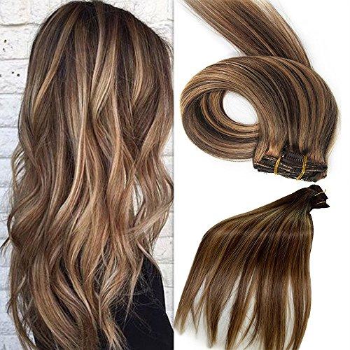 Clip in Haarverlängerung Set Echthaar Remy Haar Echthaar Clip in Extensions Blond Braun Schwarz (Dunkles Haar Extensions Echthaar)