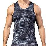 VEMOW Sommer Cool Vatertag Geschenk Männer Fitness Sport Gym Lauf 3D Druck Athletisch Shirt Top Bluse Weste T-stücke Pulli(Grau, EU-56/CN-2XL)