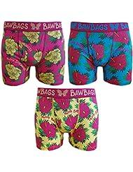 Baw Bags Aloha Pack De 3 Boxers Caleçons Homme Imprimés Fun