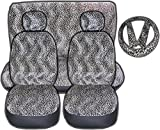UNIQUE AUTOMOTIVE ACCESSORIES 11pc Tan Cheetah Low Back Seat Covers with Head Rest Covers, Bench Cover and Steering Wheel Cover with Shoulder Pads