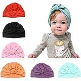 Baby Hat 6 pezzi neonato, 100% cotone morbido, elastico avvolgere la testa avvolgere infantile turbante bambino neonato ragaz