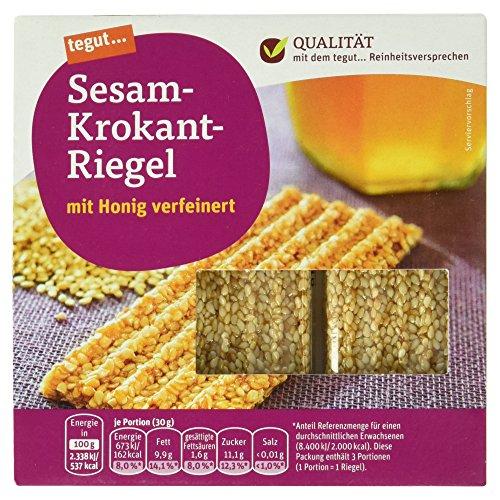 Tegut Sesam-Krokant-Riegel, 3 Riegel, 90 g