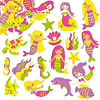 Baker Ross Mermaid Foam Stickers (Pack of 120) For Kids to Decorate Summer Cards Crafts and Collage