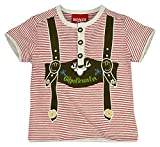 BONDI T-Shirt Geringelt mit Knopfleiste, Stripe Rot/Grey-Melange 104 Tracht Baby Jungs Artikel-Nr.91003