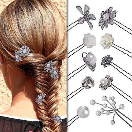 tumundo Set de 6 Pièces Épingle Cheveux Curly Papillon Floraison Fleur Perle Strass Relevés Mariage Anniversaire mod 1