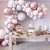 Ballong girlangskit, grå rosa latex partyballong & 4D roséguldfolieballonger, 109 st (53 st dubbelfyllda pastellballonger ing