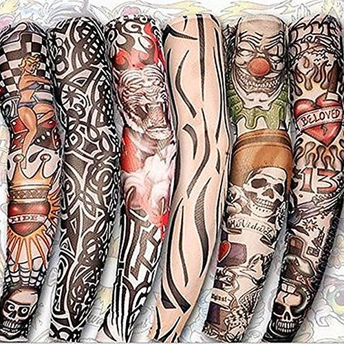 Worsworthy 6 St. Tattoo Ärmel Strümpfe Tätowierung Anziehen Kostüme Set Armlinge Arm Sleeves Tattoo Ärmel Sleeve Temporäre Tätowierung Anziehen Kostüme Set Tattoo-Armlinge im Tattoo-Fakes ()