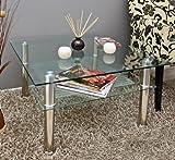 Glastisch 70 x 70 cm zarter Beistelltisch Ecktisch Couchtisch aus Edelstahl mit 10 mm ESG Sicherheitsglas