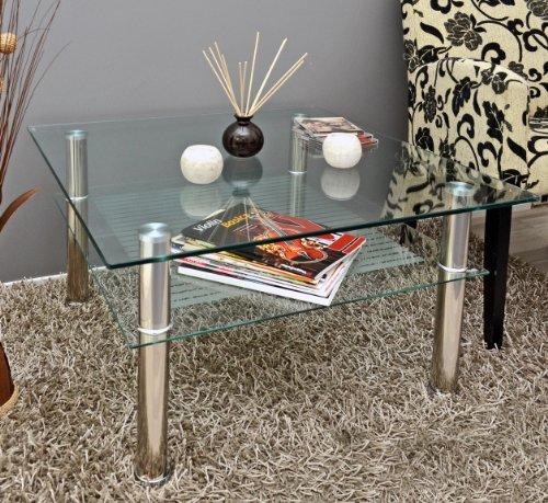 Table basse à plateau en verre 70 x 70 cm-table d'appoint en acier inoxydable et verre de sécurité eSG 10 mm