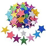 BBTO Glitter Schaum Aufkleber Selbstklebende Stern Aufkleber für Halloween Weihnachtsfest Deko, Sortierte Farben und Größen, 5 Set
