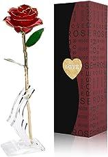 24K Gold Rose, Cozime Echte Blumendeko Goldene Rose 24 Karat mit Display Ständer und Geschenkbox, Restaurant Zuhause Dekoration Rosen, Geburtstag/ Romantisches Valentinstag/Jahrestag Geschenk für Frau Freundin