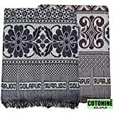 Cotonine Cotton 300 TC Solupuri Bedsheet (Brown & Blue_Full)