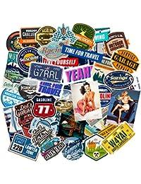 Chileeany Lot de 35 Rétro Vintage Stickers Valise Autocollants pour Valise Voyage Skateboard Guitare(World Tour)