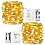 GDEALER 2 Stück Lichterkette Außen 6M 60 LEDs Lichterkette mit Batterie 8 Modi Wasserdicht IP65 Kupferdraht mit Fernbedienung und Timer für Weihnacht , Hochzeit, Party, Garten und Haus Deko (Warmweiß)