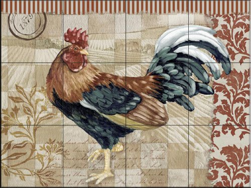 Bergerac Rooster II by Paul Brent | Tile Mural for Kitchen Splashback | Bathroom Wall Tile Mural | UK made