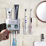 BesLife Distributeur automatique de dentifrice à fixation murale, livré avec 2 supports de brosse à dents électriques, avec c