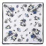 Neuleben Schal Nickituch aus 100% Seide Halstuch Kopftuch Seidenschals mit Blumenmuster (H-Weiß)