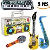 Yojoloin 5 ST�CKE Inflatables Gitarre Saxophon Mikrofon Boom Box Musikinstrumente Zubeh�r F�r Party Supplies Party Favors Ballons Zuf�llige Farbe (5 ST�CKE) Bild