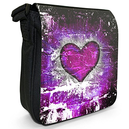 Cuore su muro di mattoni-Borsa a spalla piccola di tela, colore: nero, taglia: S Nero (Purple Grunge Heart)