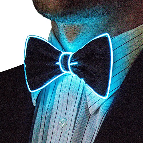 TabkerStreet Light Up Bow Tie LED bow ties Neckties Great Gifts Presents for Boys Boyfriend Brother Father on Christmas Birthday Thanksgiving Special events - Aqua