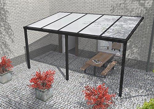 Easy Edition Hochwertige Aluminium Terrassenüberdachung, Terrassendach 304 x 300 cm (BxT) - anthrazit RAL 7016 inkl. Polycarbonat Opal 16 mm