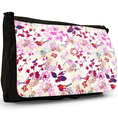 Fancy A Bag Borsa Messenger nero Bird Sat On Plant Made Of Elegant Flowers Japanese Gardens