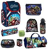 Familando Avengers Schulranzen-Set 9-TLG. Sporttasche, Federmappe gefüllt, Regenschutz