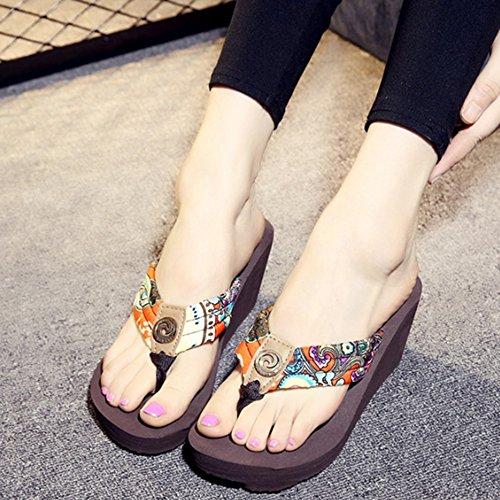 ZHANGRONG-- Pente avec des chaussures de plage Personnages à talons hauts glissent les pantoufles d'été Colliers de sandales épaisses Pieds antidérapants pantoufles de table imperméables Chaussons Mat C