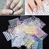 Malloom 50 hojas Transferencia de arte pegatinas diseño 3D manicura consejos etiqueta decoraciones de uñas